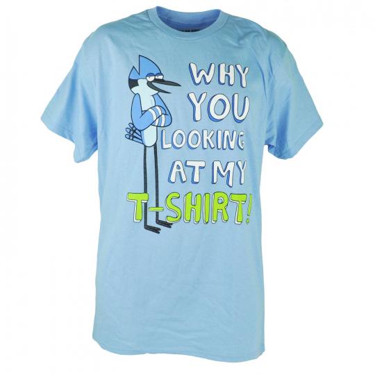 Cartoon Network Regular Show Mordecai Why You Looking At My Tshirt Tee