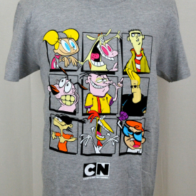 Cartoon Network T-shirt Show Characters Squares Graphic Tee Heather Gray NWT