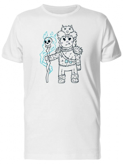 Cartoon Shaman With A Staff Men's Tee -Image by Shutterstock