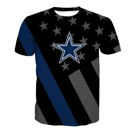 Casual Man T-shirt O-neck short sleeve Top stripe star Cowboys printed S-3XL
