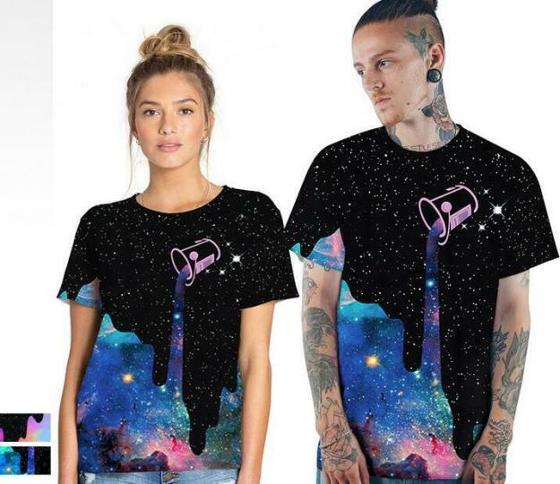 Casual Woman o-neck Loose T-shirt short Sleeve Galaxy sky stars Printed S-3XL