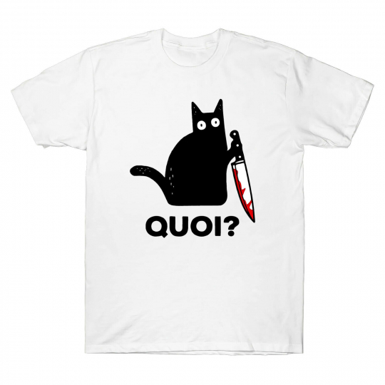 Cat Quoi Funny Black Cat Murderous Cat with Knife Funny Men's T-Shirt Tee Cotton