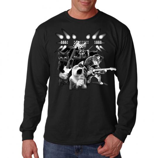 Cat Rock & Roll Kitten Band Guitar Music Drums Long Sleeve T-Shirt