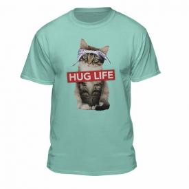 Cat Wearing Bandanna Hug Life T-Shirt