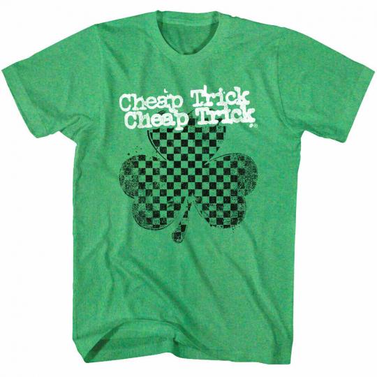 Cheap Trick Green Clover Shamrock Men's T Shirt Lucky Rock Band Album Tour Merch