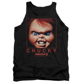 Child's Play 3 Movie Poster BIG CHUCKY FACE  Square Licensed Tank Top All Sizes