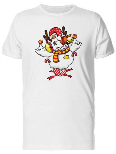Christmas Snowman Cartoon Men's Tee -Image by Shutterstock