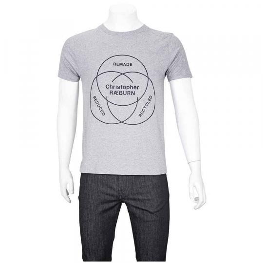 Christopher Raeburn Men's T-Shirt Gray, Black Ethos T-Shirt, Brand Size Medium