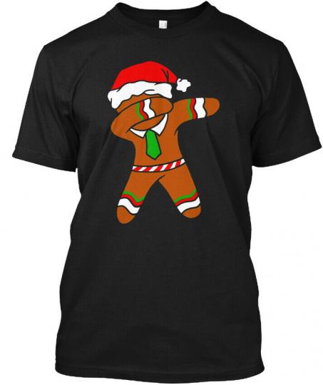 Dabbing Gingerbread Necktie Funny Xmas Holiday Pun Hanes Tagless Tee T-Shirt