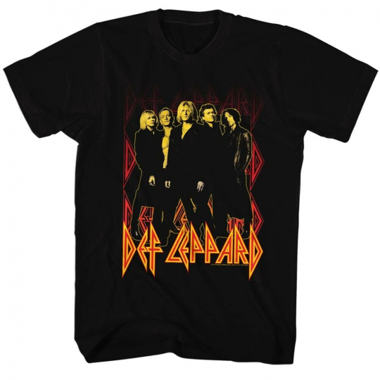 Def Leppard 80 Heavy Hair Metal Band Rock n Roll Group on fire Adult T-Shirt Tee