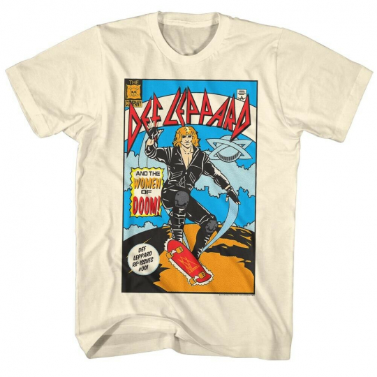 Def Leppard 80s Heavy Hair Metal Band Rock and Roll Comic Adult T-Shirt Tee