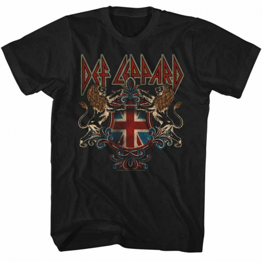 Def Leppard Def Lep Crest Black Adult T-Shirt