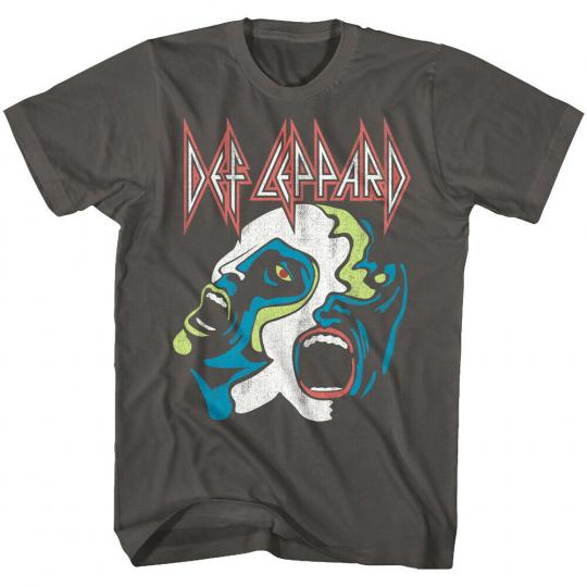 Def Leppard Hysteria Faces Charcoal Men's T Shirt Live Rock Band Concert Stadium