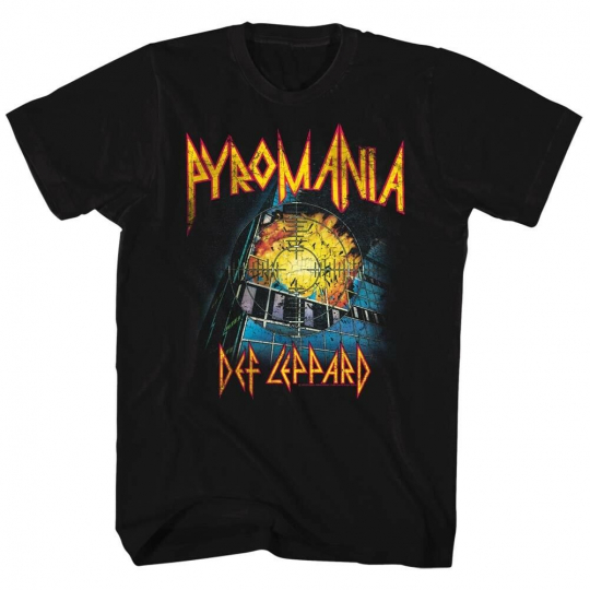 Def Leppard Pyromania Album Cover Men's T Shirt Explosive Rock Band Tour Merch