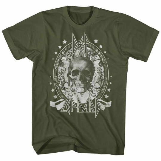 Def Leppard Skull Military Green Adult T-Shirt