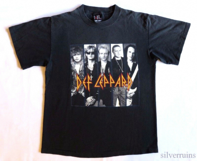 Def Leppard Vintage T Shirt 1990's Concert Tour Adrenalize Rock Band L 1992
