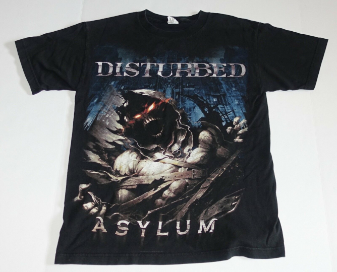Disturbed Asylum Rock Band Tour Concert Cover Art Black T-Shirt Size - Medium M