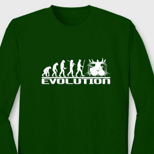 Drum Evolution cool Music T-shirt Party Band Rock Long Sleeve Tee