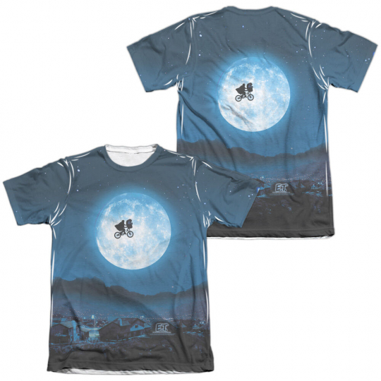 E.T. Extra-Terrestrial Movie MOON 2-Sided All Over Print Poly Cotton T-Shirt