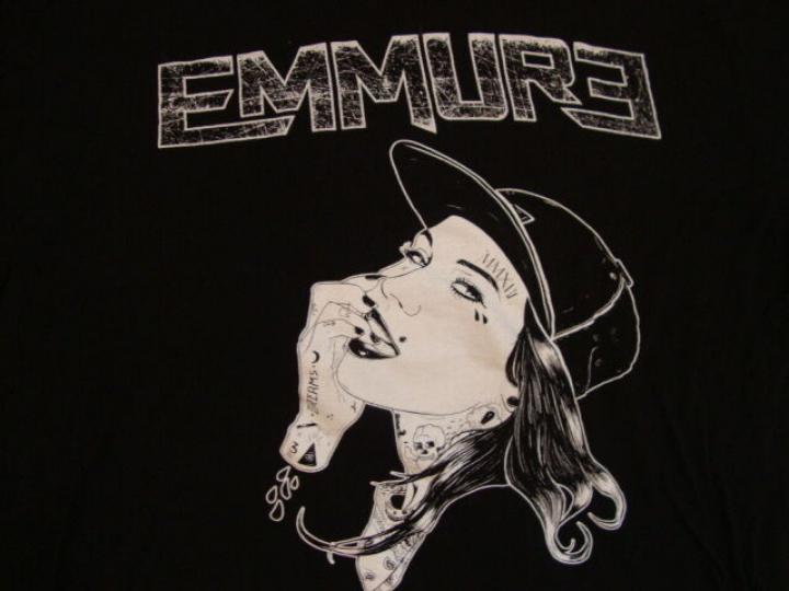 EMMURE tattooed girl Goth emo Punk Metal music  Band T Shirt XL