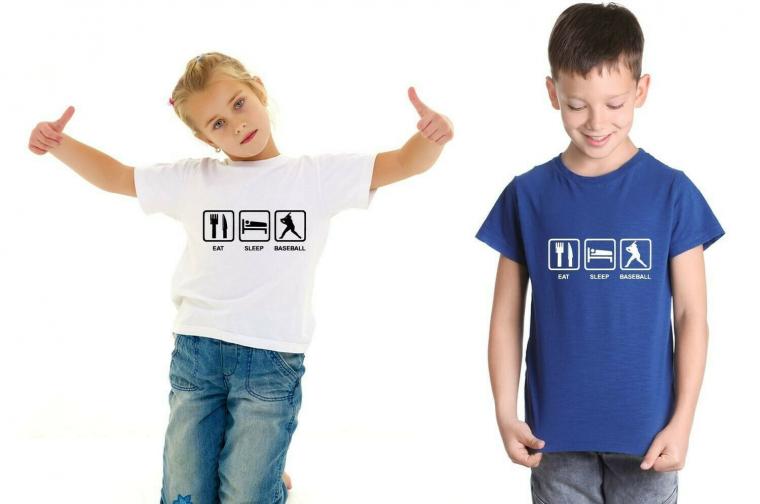 Eat Sleep Baseball Sports Team Unisex Youth Shirt for Girls Boys Spring S M L XL