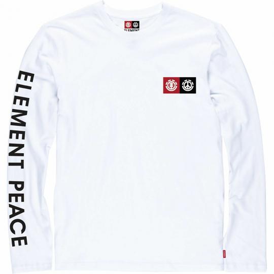 Element Skateboards Peace Block Long Sleeve T-Shirt - Size: LARGE Optic White