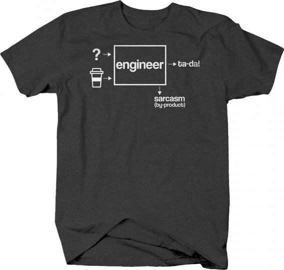Engineer coffee sarcasm funny job occupation design develop T-shirt