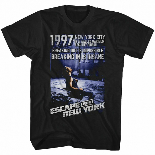 Escape From New York Insane Black Adult T-Shirt