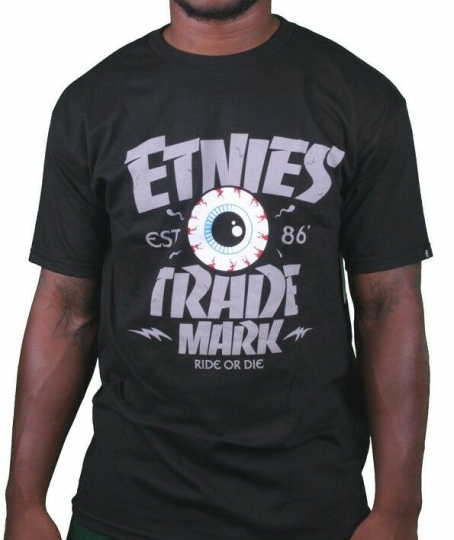 Etnies Skateboarding Mens Black Trademark Ride or Die T-Shirt Small NWT