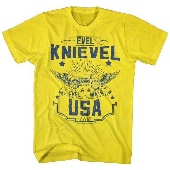 Evel Knievel American Iconic Daredevil Motorcycle Adult T-Shirt Evel Ways