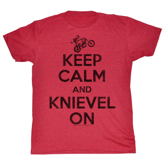 Evel Knievel American Iconic Daredevil Vintage Style Keep Calm Adult T-Shirt