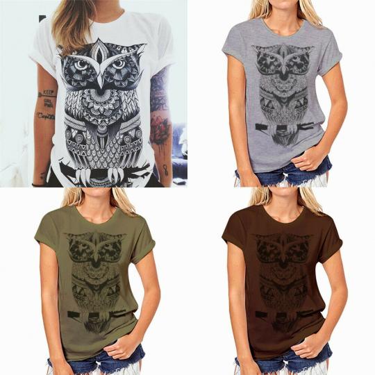 Fashion Casual Summer Owl Print Blouse Short Sleeve Women T-shirt Top