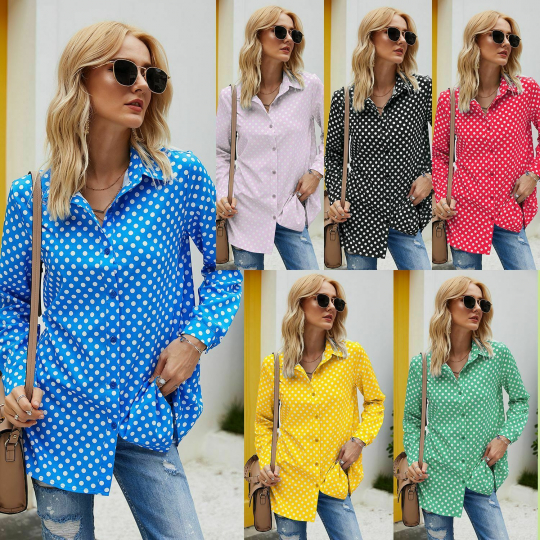 Fashion Long Sleeve Wave Point Womens Casual Shirt Ladies Blouse Tops S-5XL