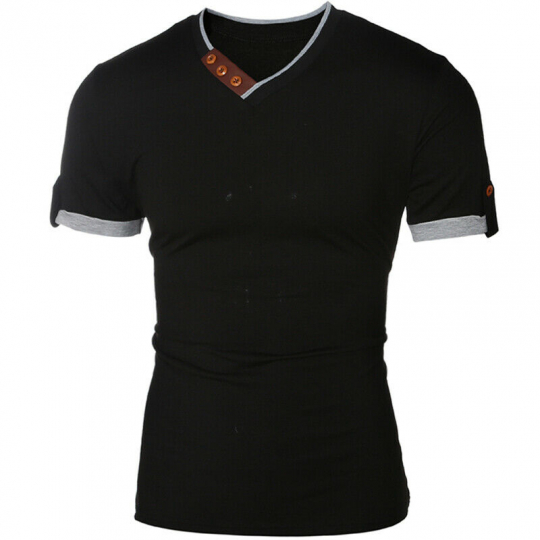Fashion Men's Slim Fit Cotton Shirts V-Neck Short Sleeve Casual T-Shirt Tops