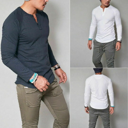Fashion Men's Slim Fit V Neck Long Sleeve Tee T-shirt Casual Tops Blouse