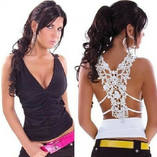 Fashion Women Backless Tops Sexy Lace V-Neck Hollow Out Halter Tops Vest T-Shirt