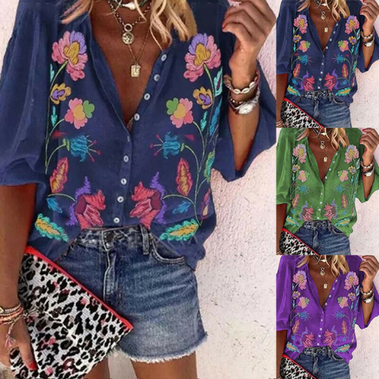 Fashion Women Casual Buttons Long Sleeve Printing V-Neck T-Shirt Tops Blouse