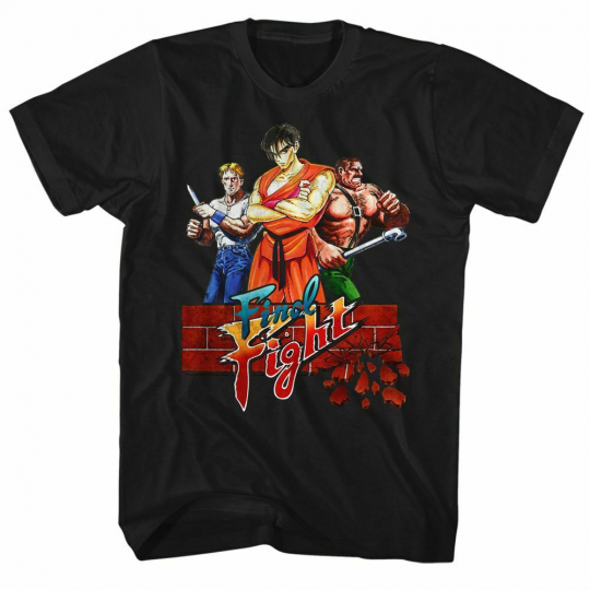 Final Fight Trio Black Adult T-Shirt