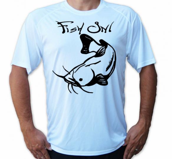 Fish On Hook Catfish Short Sleeve UPF 50 T-Shirt Fishing Sport UV Protection