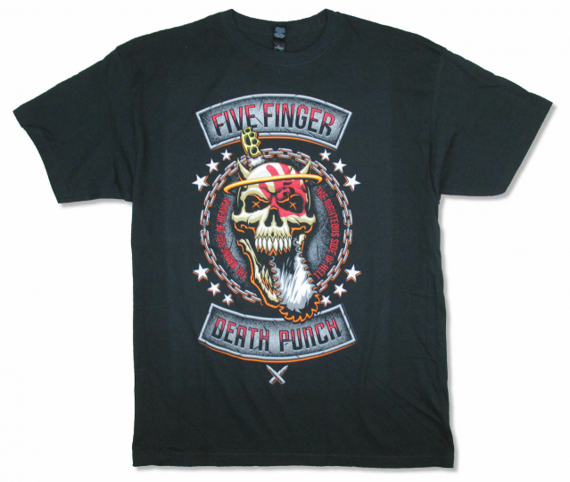 Five Finger Death Punch Rebellion Revised Black T Shirt New Official