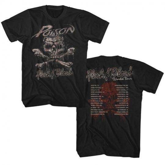 Flesh & Blood Poison Glam Hair Metal Rock Band World Tour Adult T-Shirt 2