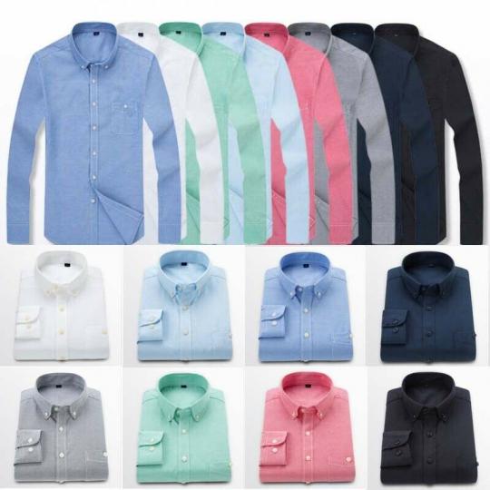 Formal Casual Mens Cotton Oxford Long Plain Sleeve Dress Business Shirt
