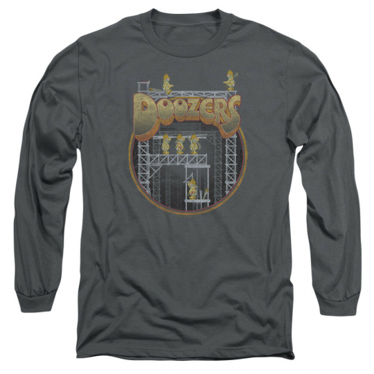 Fraggle Rock TV Show DOOZERS CONSTRUCTION Adult Long Sleeve T-Shirt S-3XL
