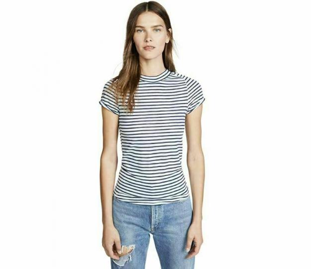 Free People Womens Night Sky Striped T-Shirt Periwinkle - Short Sleeve Sz XS