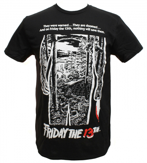 Friday The 13th Shirt Men's Movie Poster Graphics Black T-shirt Tee
