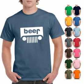 Funny Beer Jeep Logo Parody Drinking Humor Mens Graphic T-Shirt Logo Parody Tee
