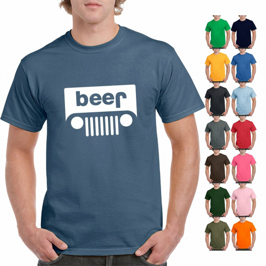 Funny Beer Jeep Logo Parody Drinking Humor Mens Graphic T-Shirt Logo Parody Tee