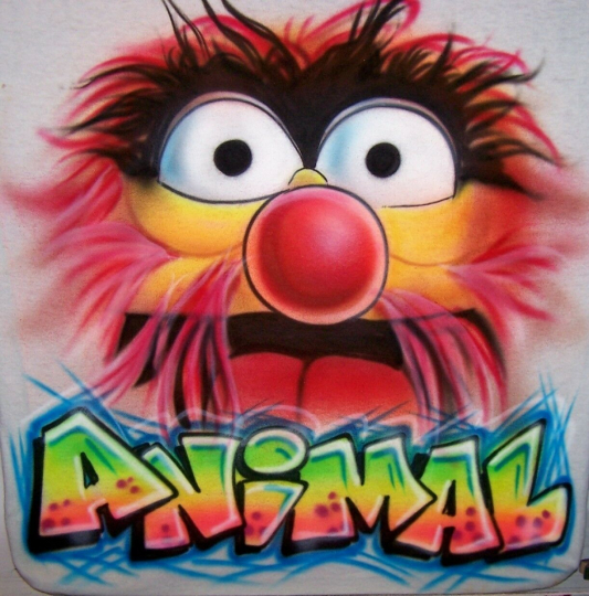 Funny Muppets Airbrushed ANIMAL T-Shirt  All Sizes Personalize with ANY Name