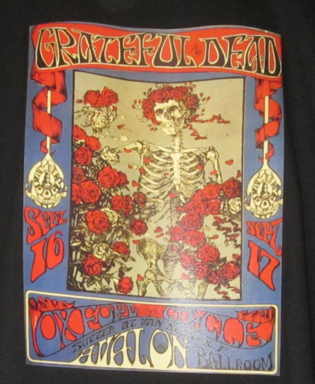 GRATEFUL DEAD AVALON REPLICA CONCERT POSTER T-SHIRT GILDAN XL BLACK FREE SHIP