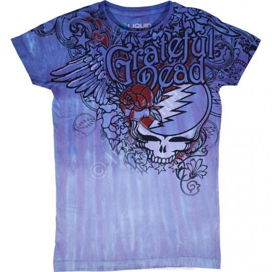 GRATEFUL DEAD-DEAD FLOWERS-JUNIOR LONG LENGTH TIE DYE TSHIRT S-M-L-XL Garcia
